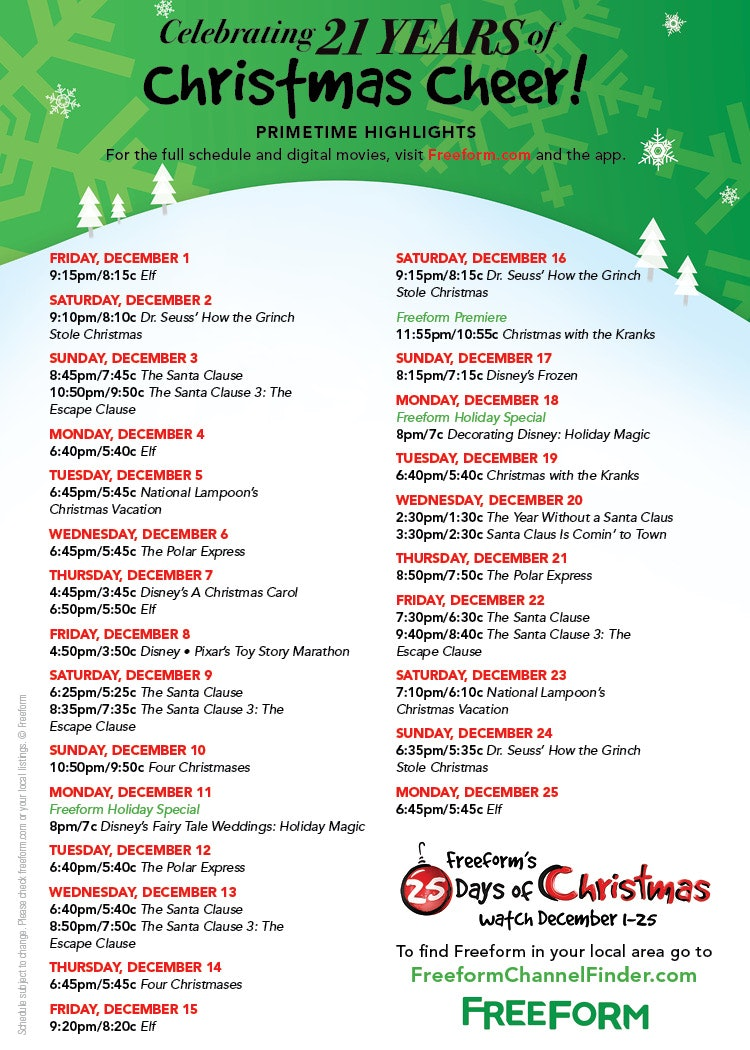 freeforms 2017 25 days of christmas schedule is here its filled with all your holiday favorites