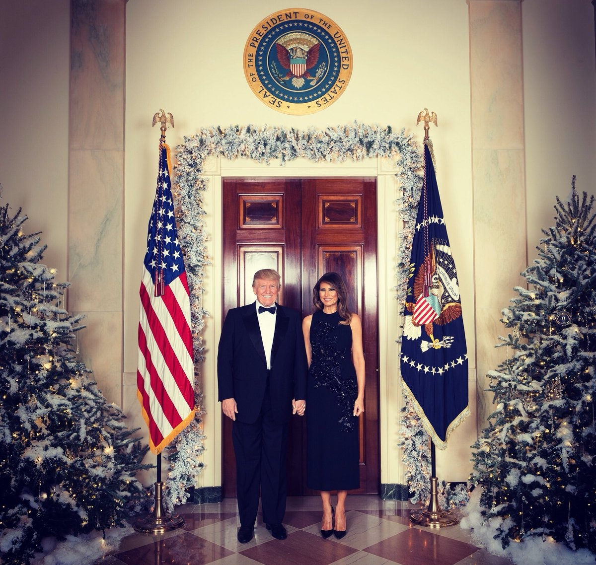 The White House Releases the Christmas Portrait of Donald and Melania Trump