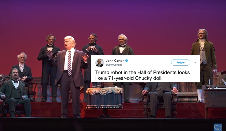 Animatronic Donald Trump Statue At Disney's Hall Of Presidents Gets Ruthlessly Mocked