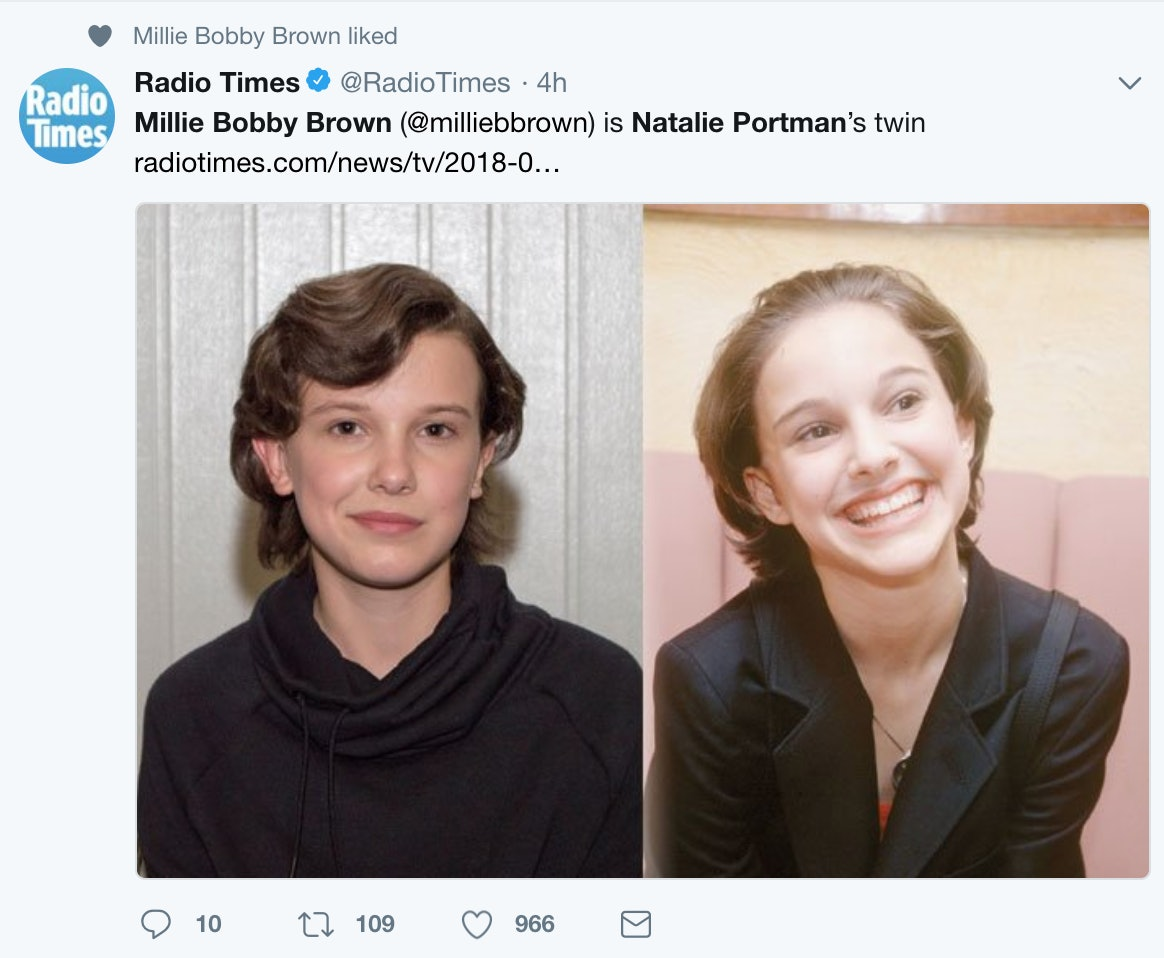 Millie Bobby Brown & Young Natalie Portman Look So Much Alike It's Spooky