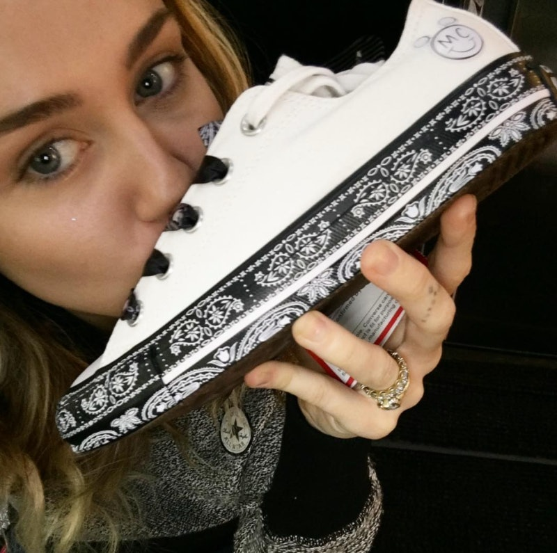de66f057380c33 When Does Miley Cyrus X Converse Drop  The Flatform Glitter Design Is So  Major