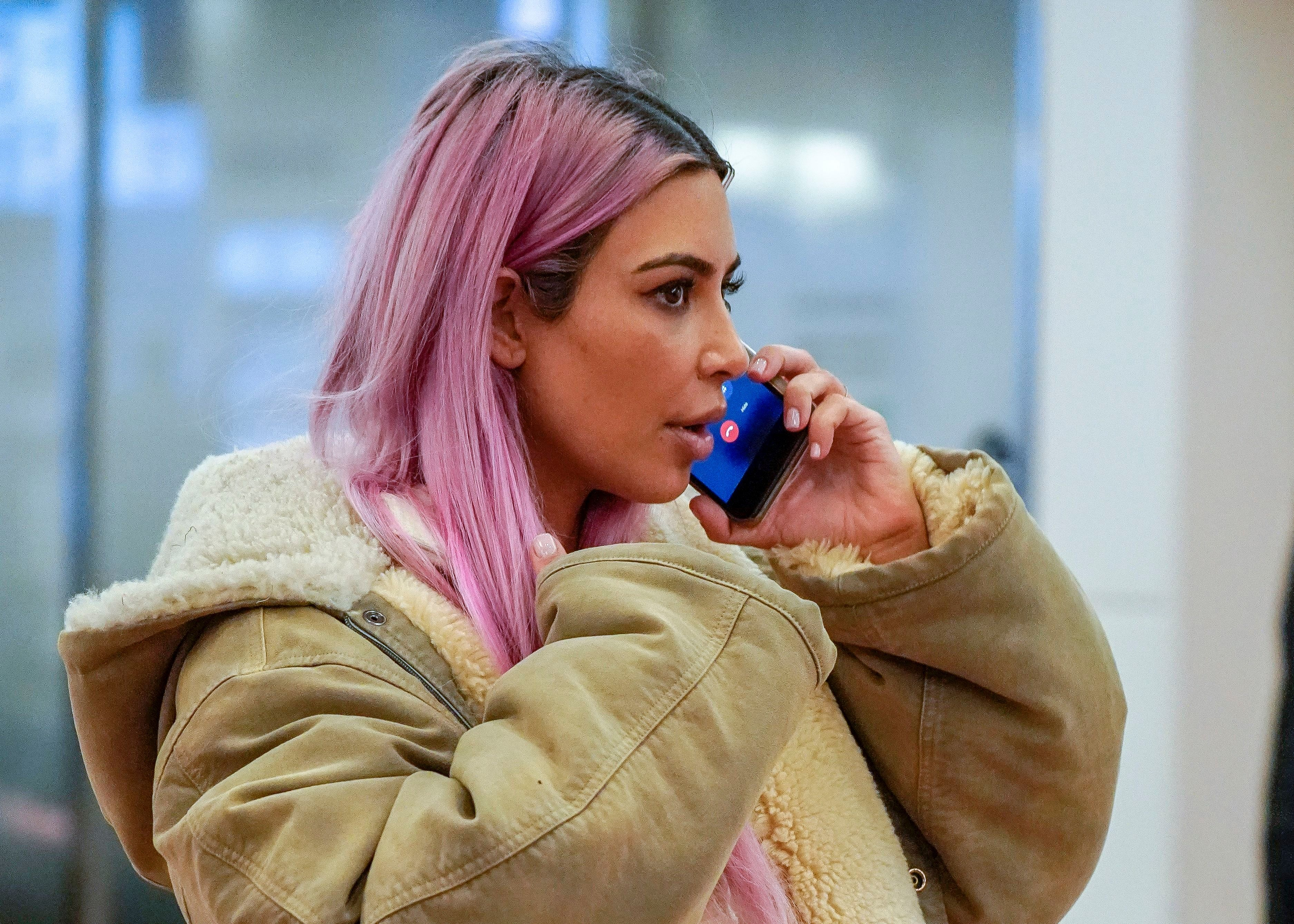 32d95d0fa3ff6 Photos of Kim Kardashian's Pink Hair Are Here & Twitter Loves Her Barbie  Look