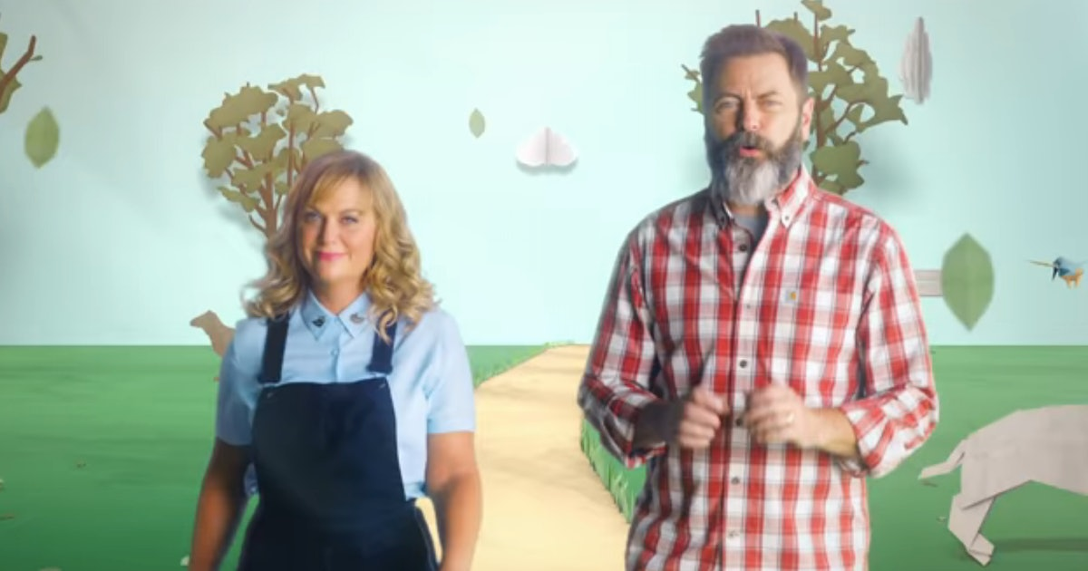 amy poehler nick offerman 39 s new show will bring parks rec fans so much joy video. Black Bedroom Furniture Sets. Home Design Ideas