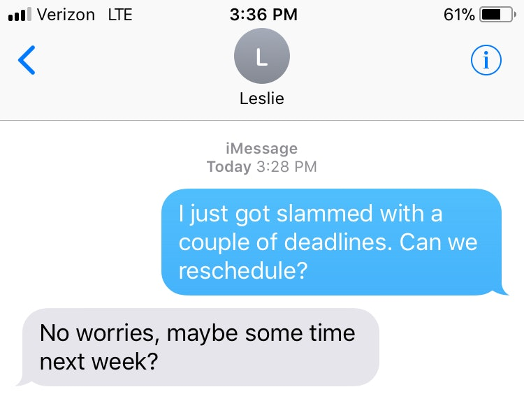 How To Cancel Plans With A Coworker Over Text, Because Life Happens